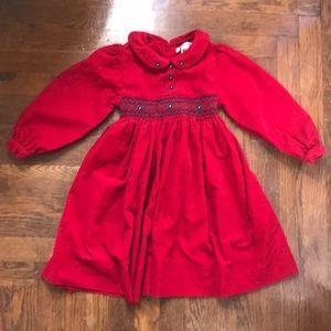 Smocked Corduroy Holiday Dress